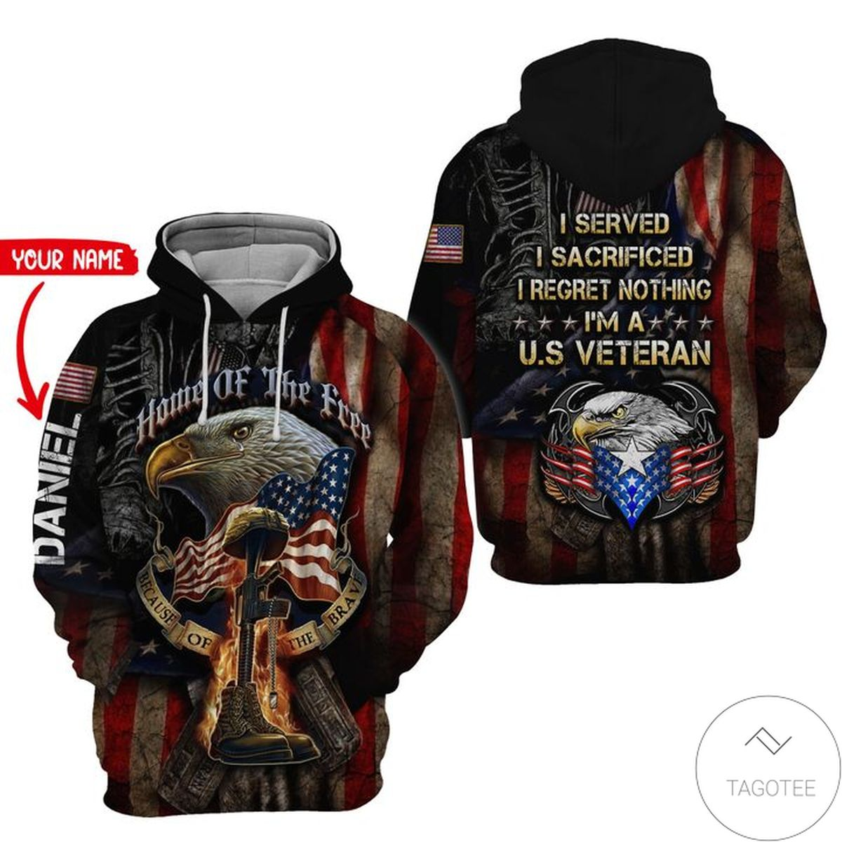 Excellent Personalized U.S. Army Veteran I Served I Sacrificed I Regret Nothing 3D Hoodie