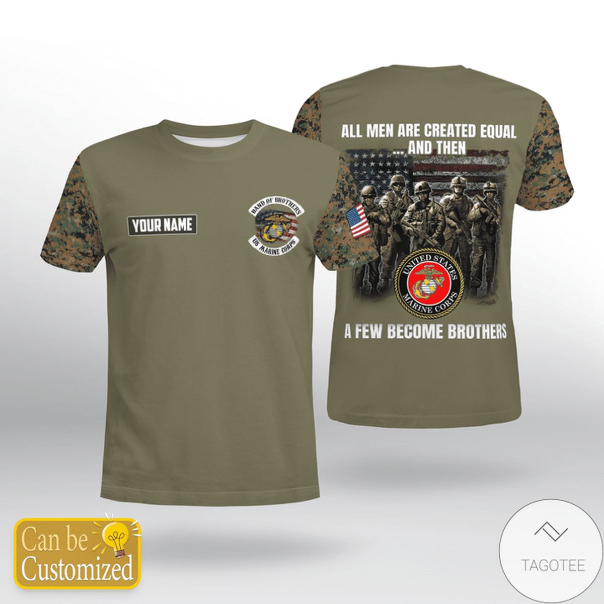 Personalized USMC All Men Are Created Equal And Then A Few Become Brothers Shirt