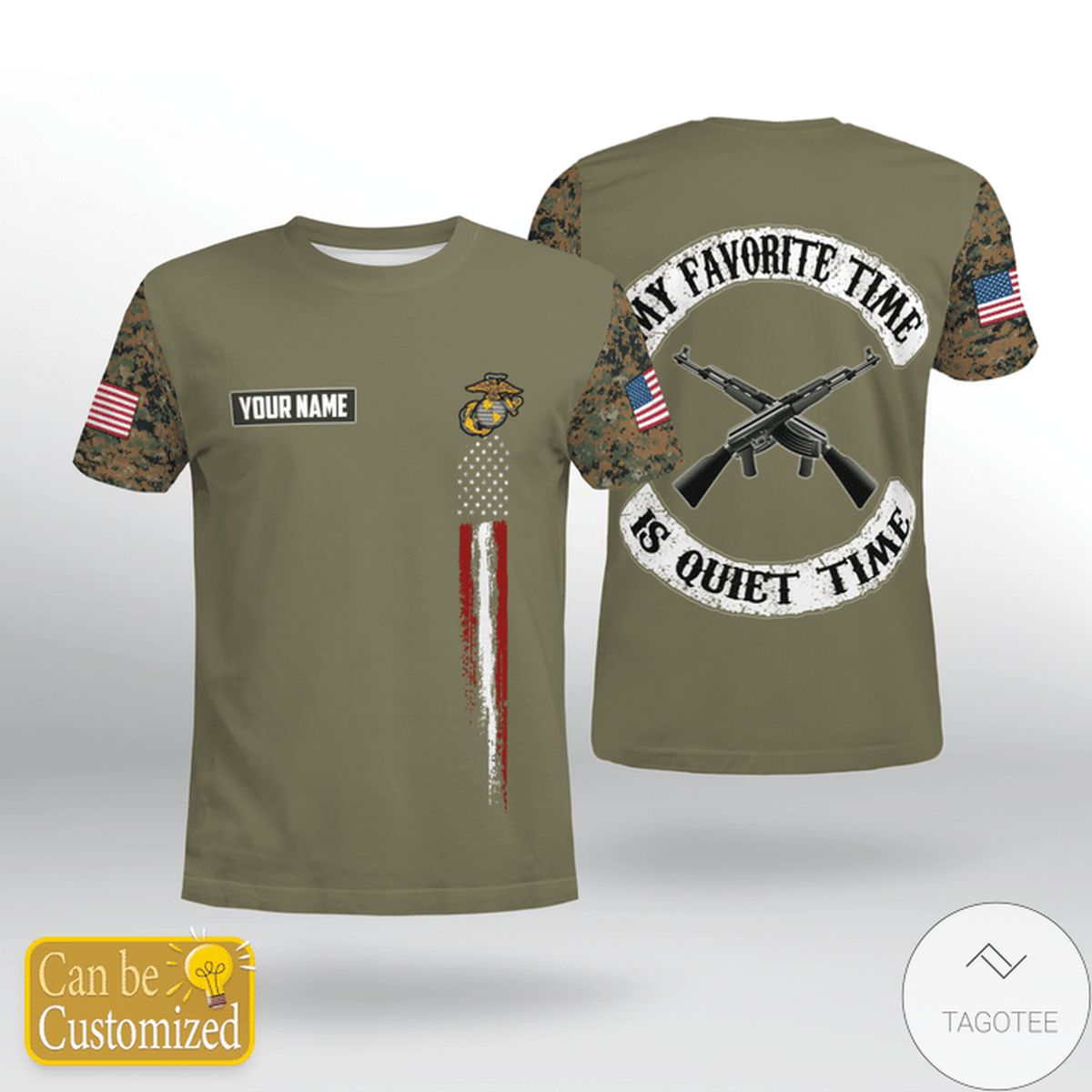 Personalized USMC My Favorite Time Is Quiet Time Shirt