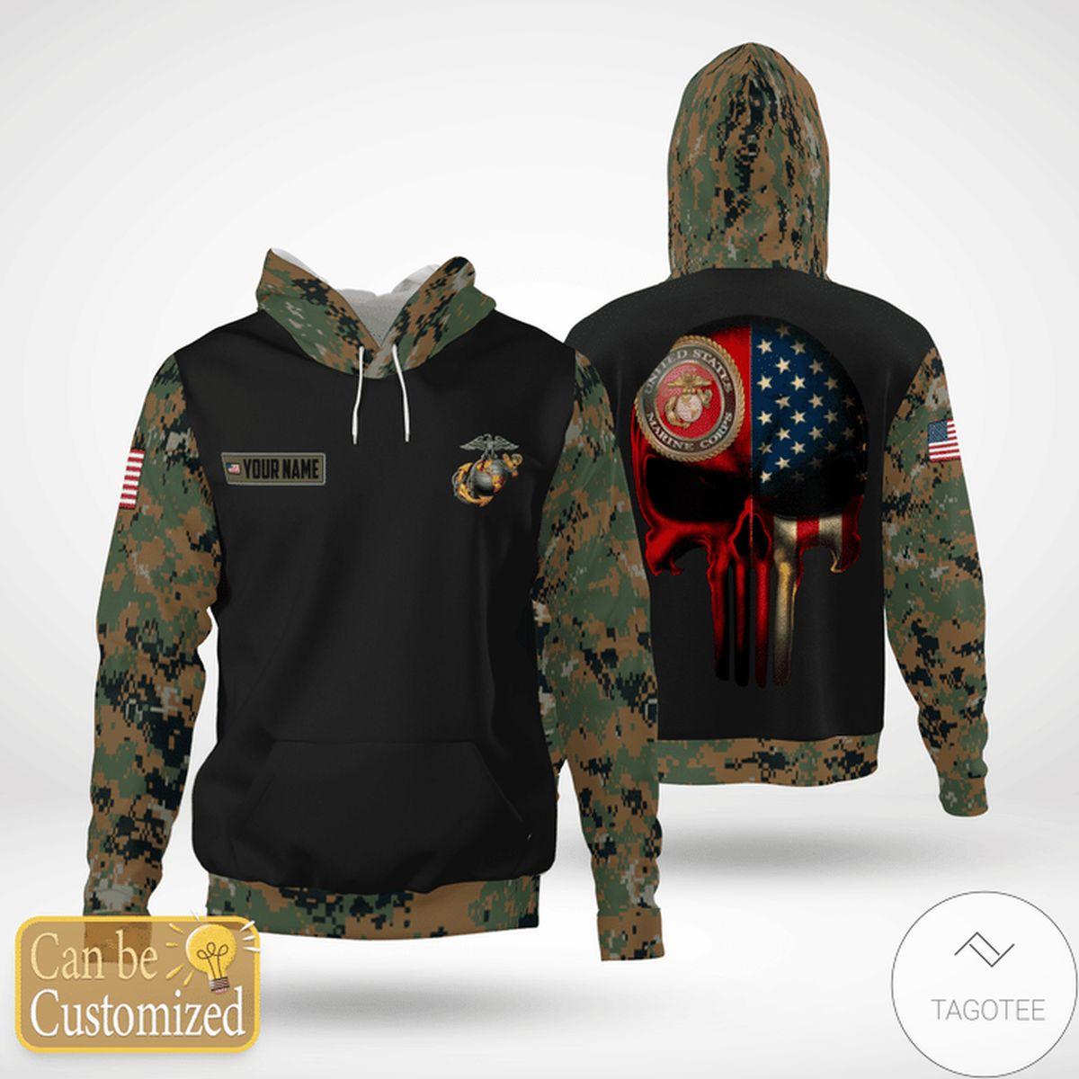 Personalized USMC United States Marine Corps Skull Camo Hoodie