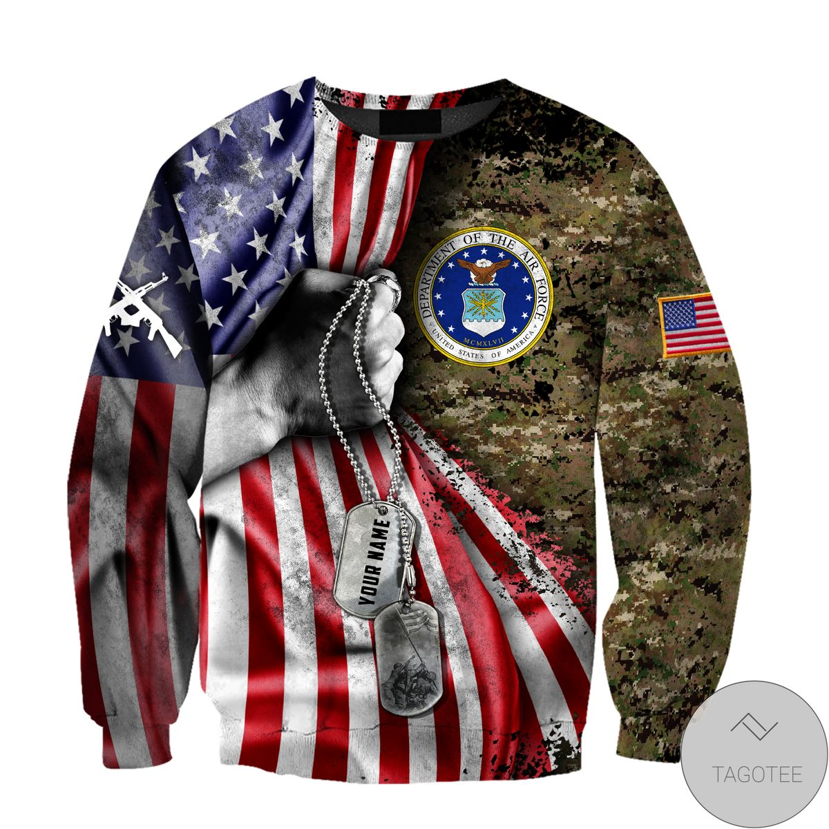 Personalized Us Air Force Camo Tag 3D All Over Print Hoodie x
