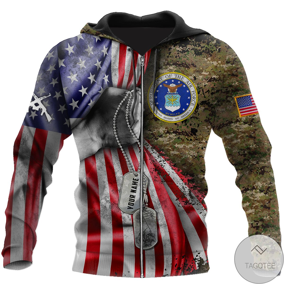Perfect Personalized Us Air Force Camo Tag 3D All Over Print Hoodie
