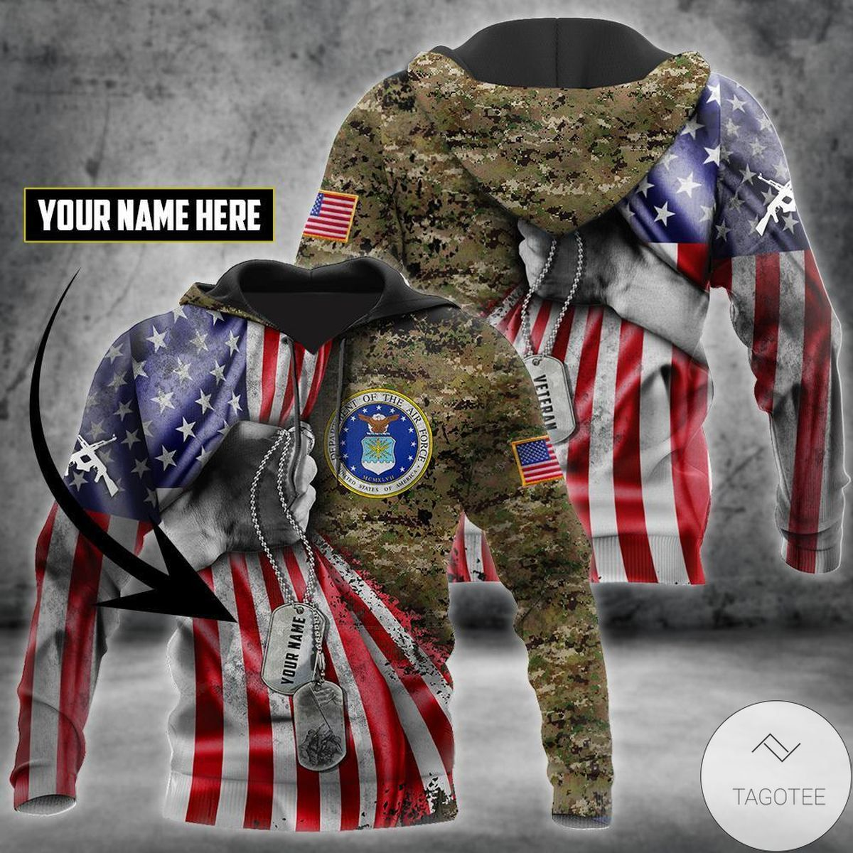 Father's Day Gift Personalized Us Air Force Camo Tag 3D All Over Print Hoodie