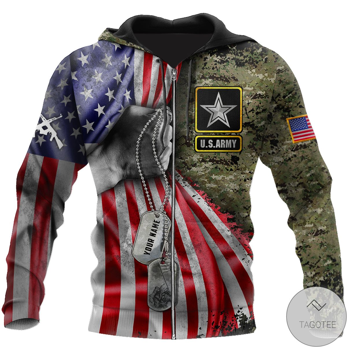 Excellent Personalized Us Army Tag 3D All Over Print Hoodie