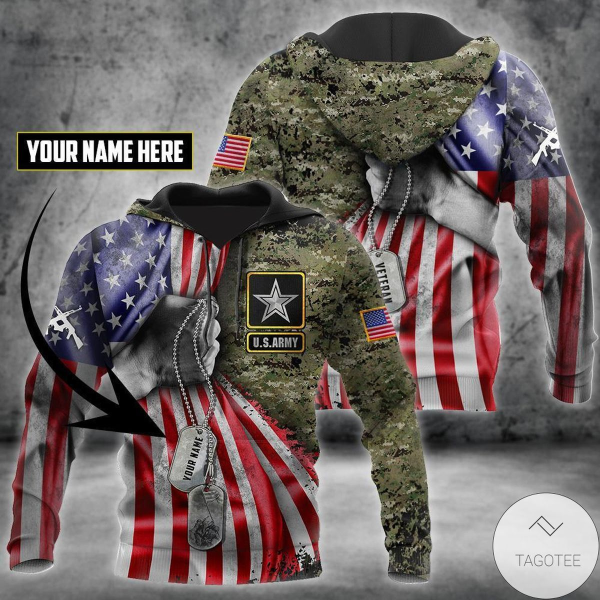 Great artwork! Personalized Us Army Tag 3D All Over Print Hoodie