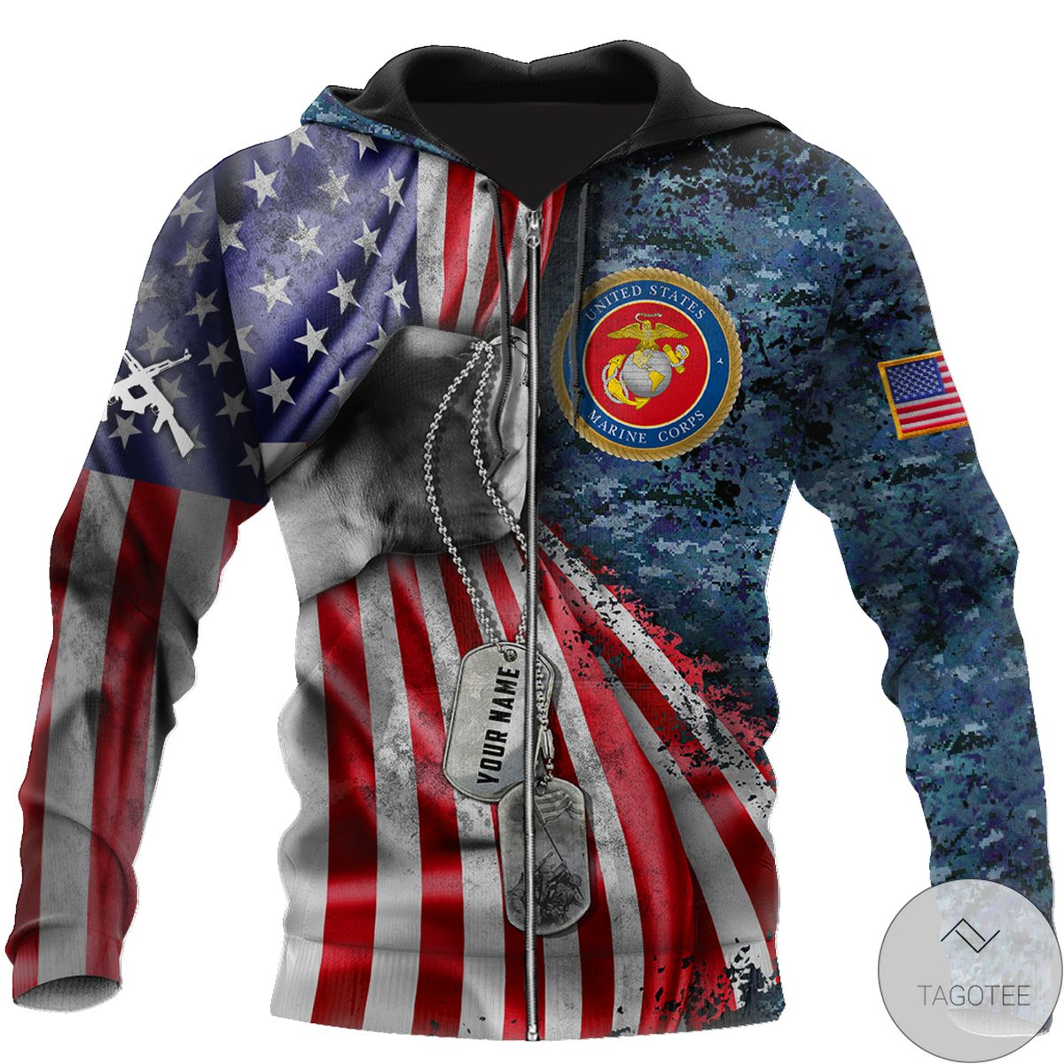Esty Personalized Us Marine Corps Tag 3D All Over Print Hoodie