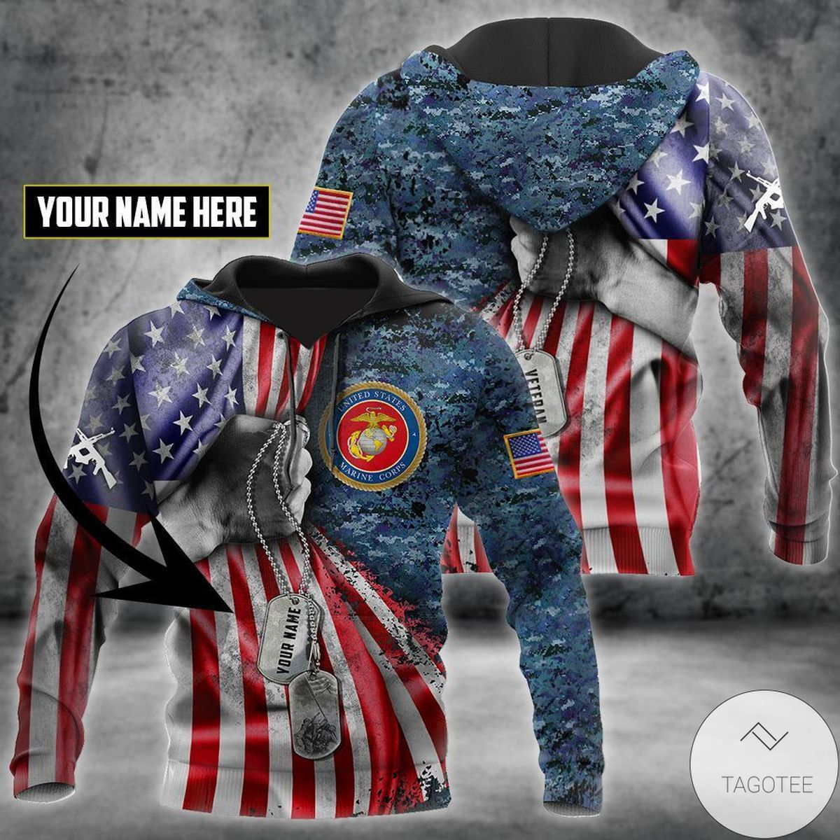 Official Personalized Us Marine Corps Tag 3D All Over Print Hoodie