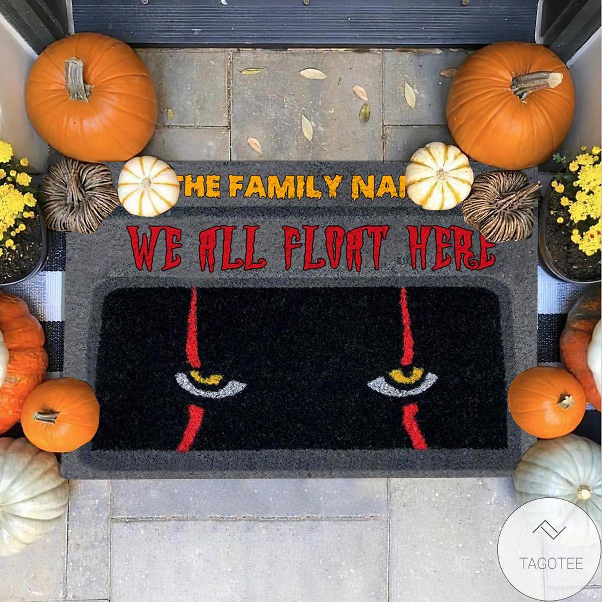 Personalized We All Float Here Halloween Doormat