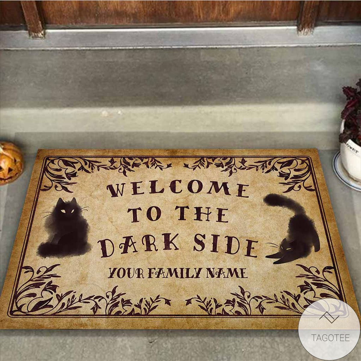 Fantastic Personalized Welcome To The Dark Side Black Cats Doormat