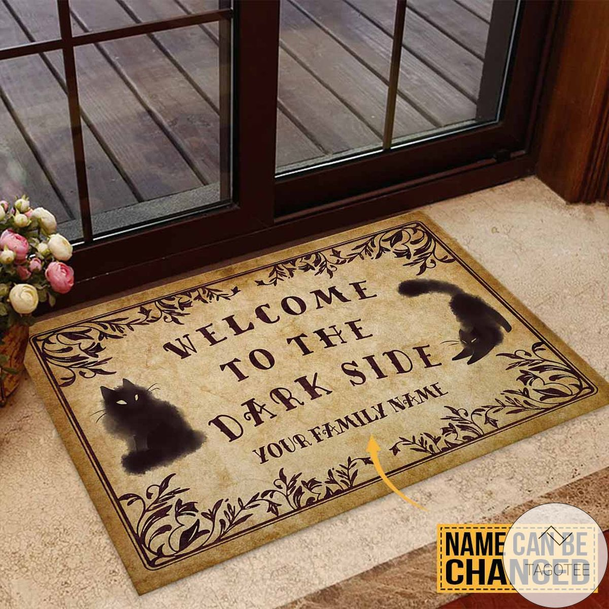 Free Ship Personalized Welcome To The Dark Side Black Cats Doormat