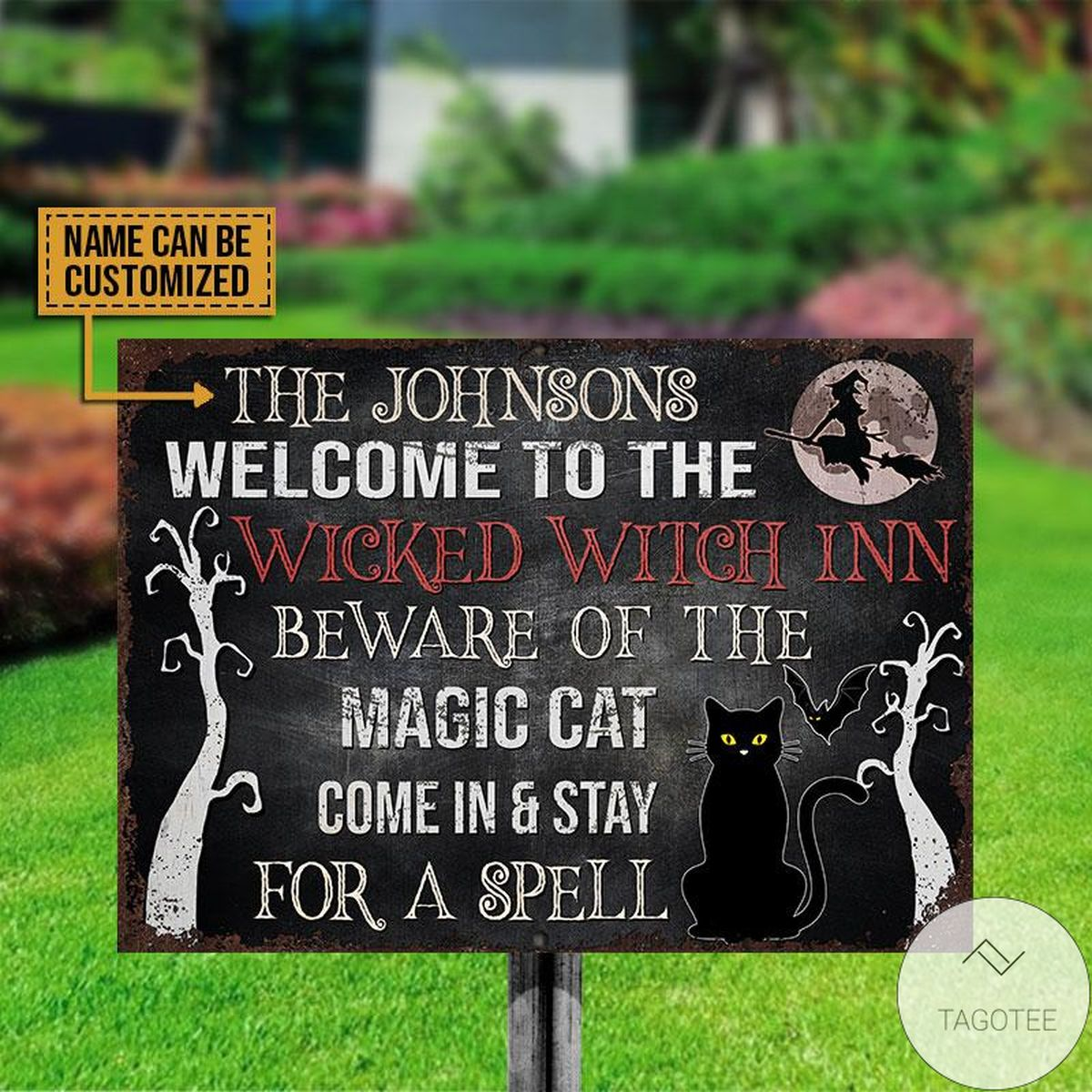POD Personalized Witch Black Cat Staying For A Spell Classic Metal Signs