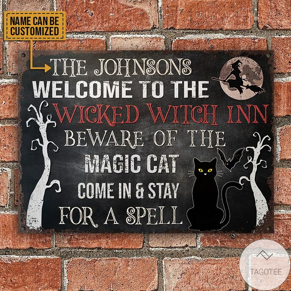 Very Good Quality Personalized Witch Black Cat Staying For A Spell Classic Metal Signs