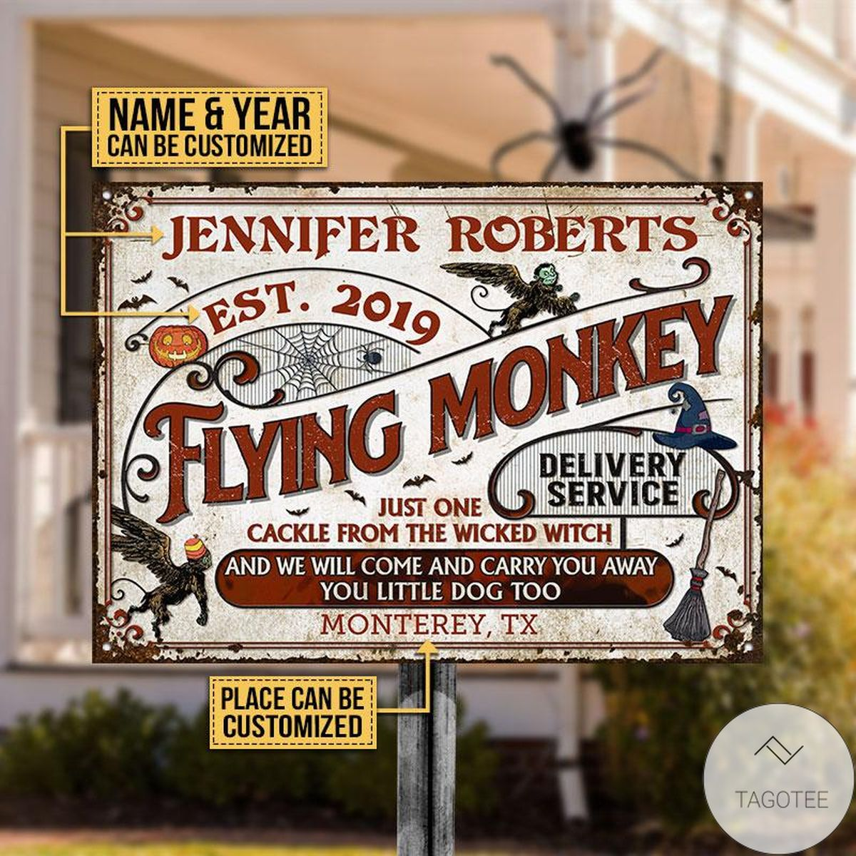 Awesome Personalized Witch Flying Monkey Delivery Service Classic Metal Signs