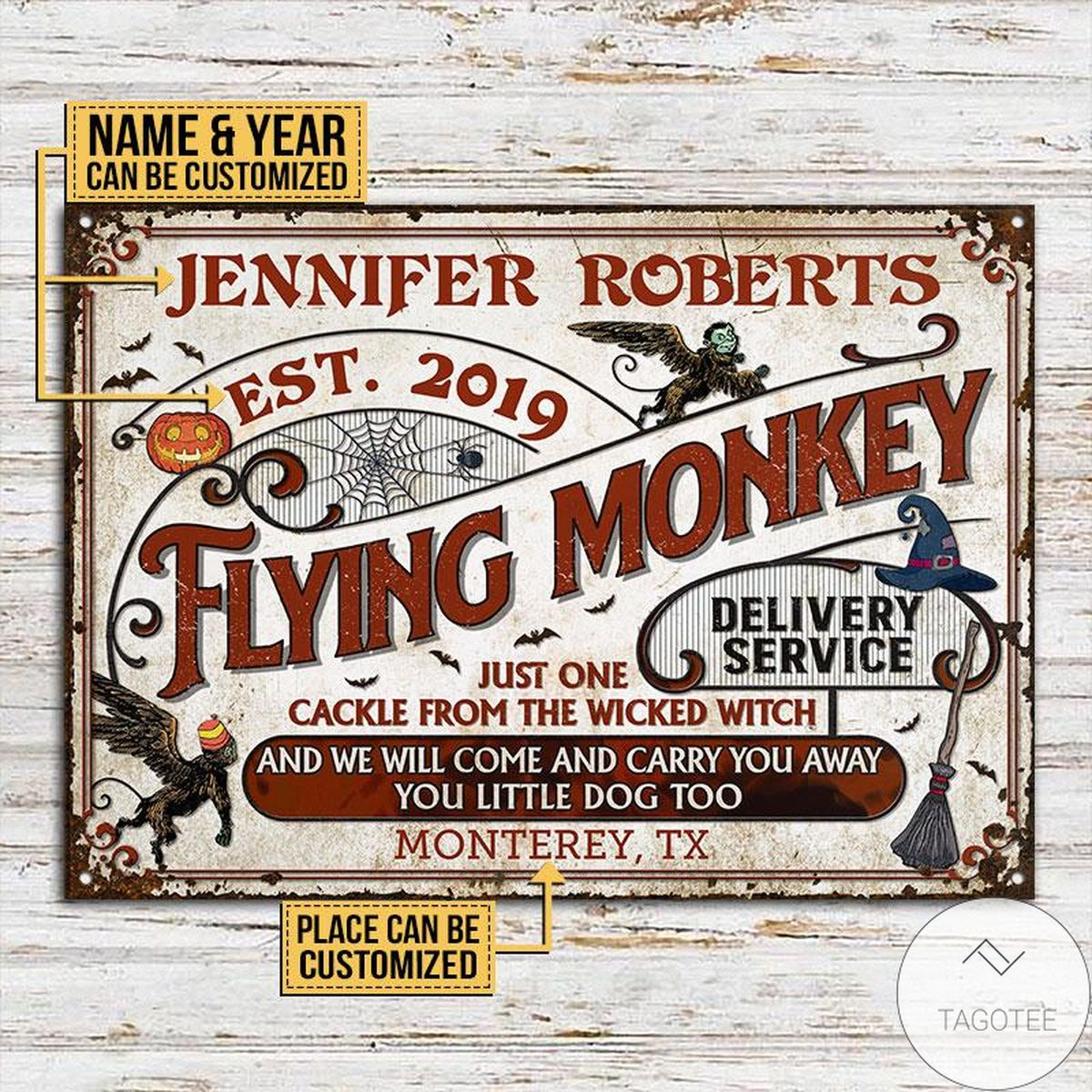 Luxury Personalized Witch Flying Monkey Delivery Service Classic Metal Signs