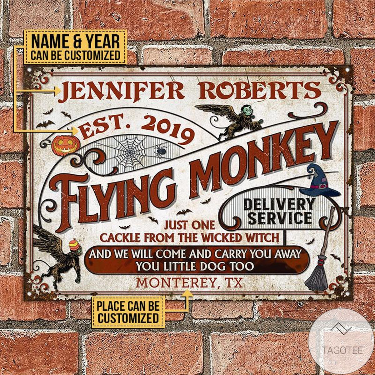 Present Personalized Witch Flying Monkey Delivery Service Classic Metal Signs