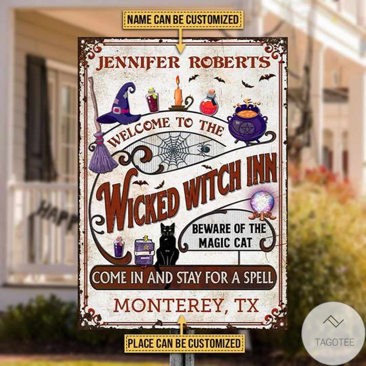 Adorable Personalized Witch Inn Black Cat Stay For A Spell Classic Metal Signs