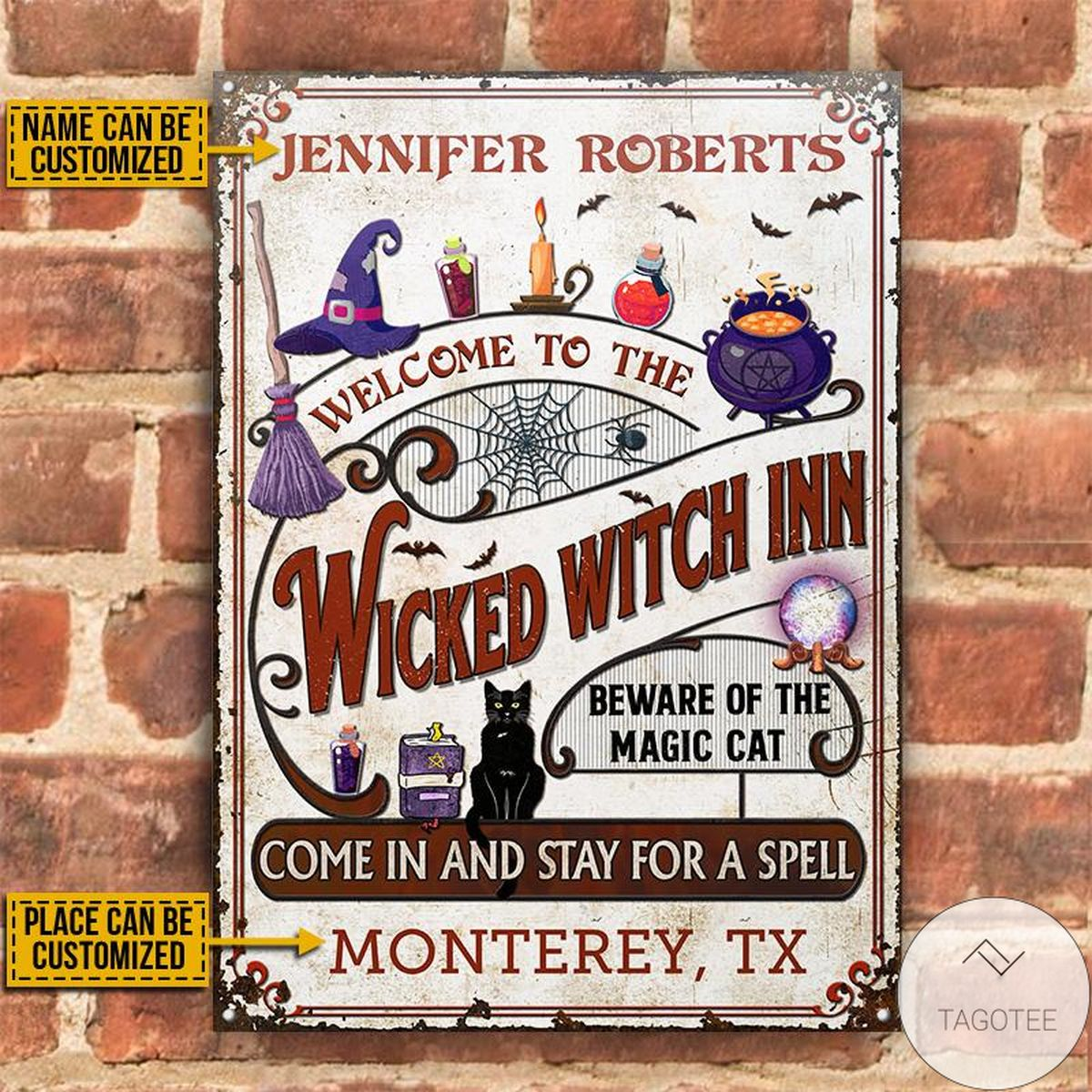 Personalized Witch Inn Black Cat Stay For A Spell Classic Metal Signs