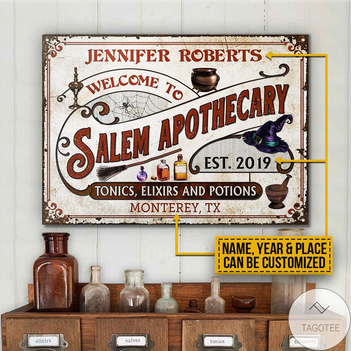 Amazon Personalized Witch Salem Apothecary Classic Metal Signs