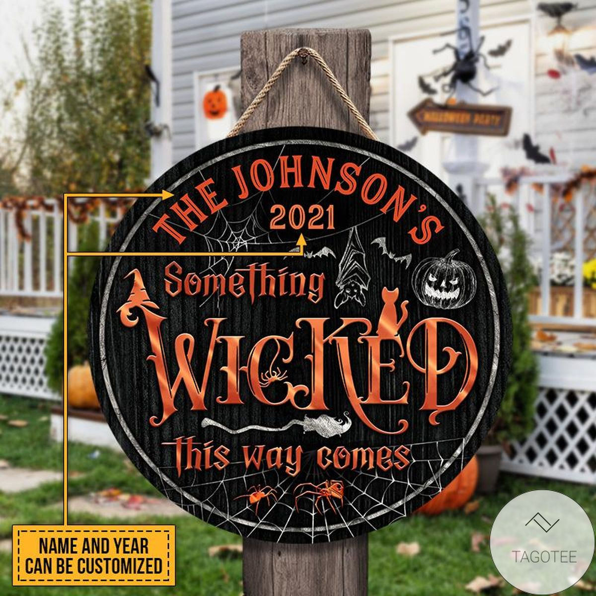 Personalized Witch Witchery Wizard Spell Halloween Something Wicked Wood Circle Sign