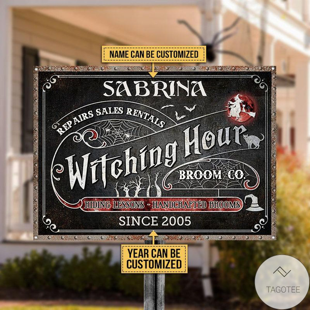 Clothing Personalized Witch Witching Hour Broom Classic Metal Signs