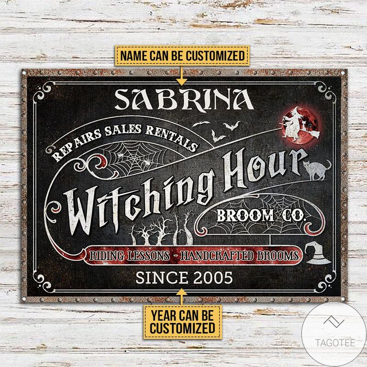 Limited Edition Personalized Witch Witching Hour Broom Classic Metal Signs