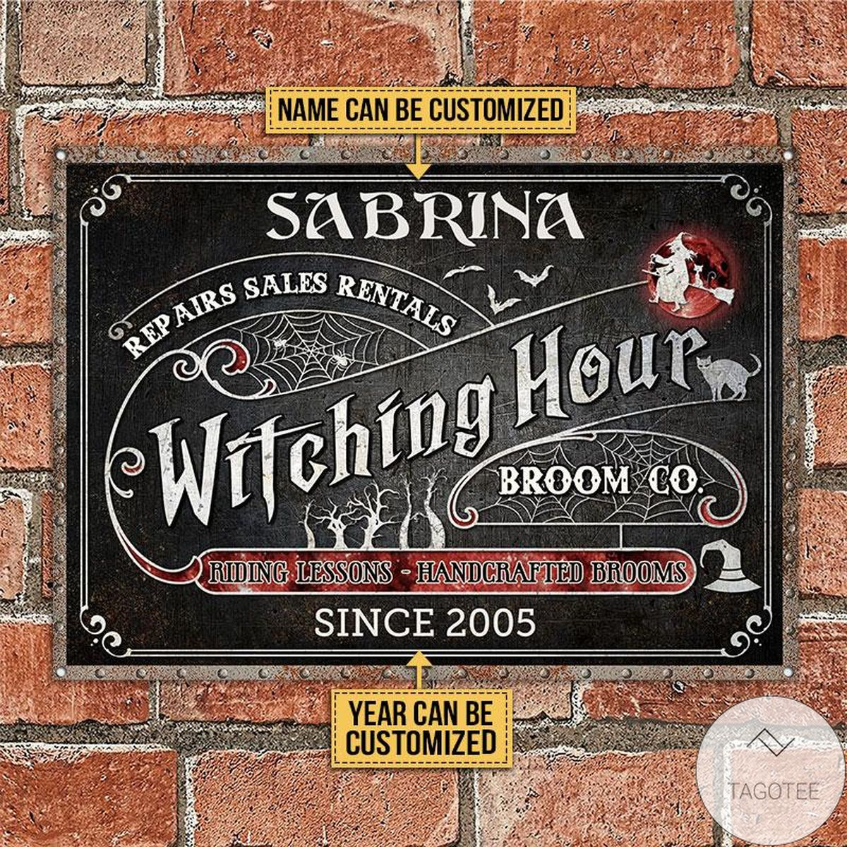 Sale Off Personalized Witch Witching Hour Broom Classic Metal Signs