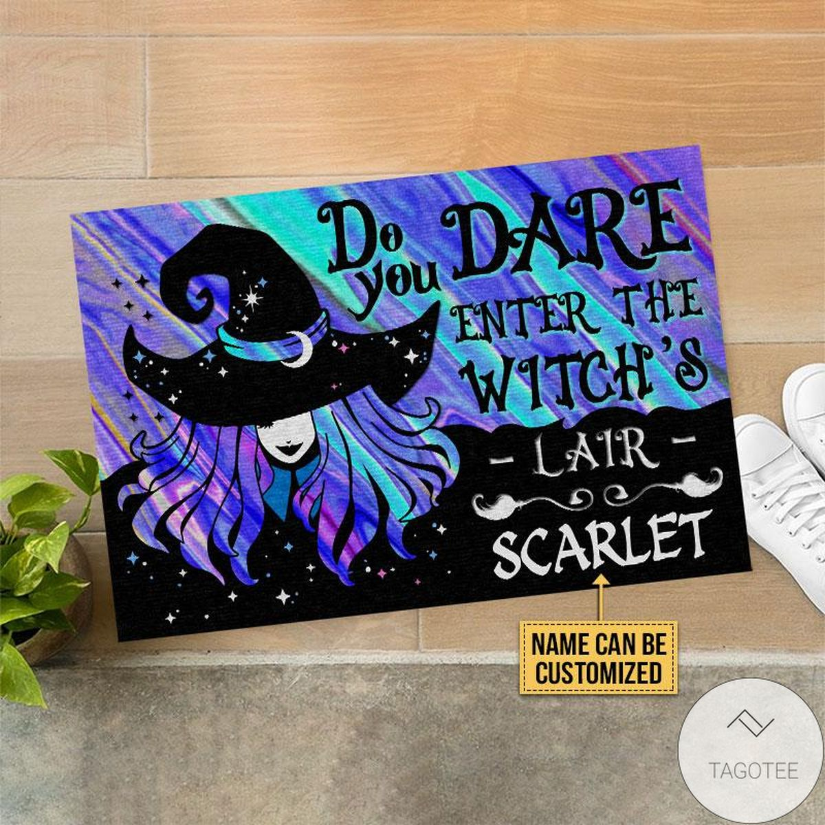 Fantastic Personalized Witch Wizard Halloween Spell Do You Dare Custom Doormat