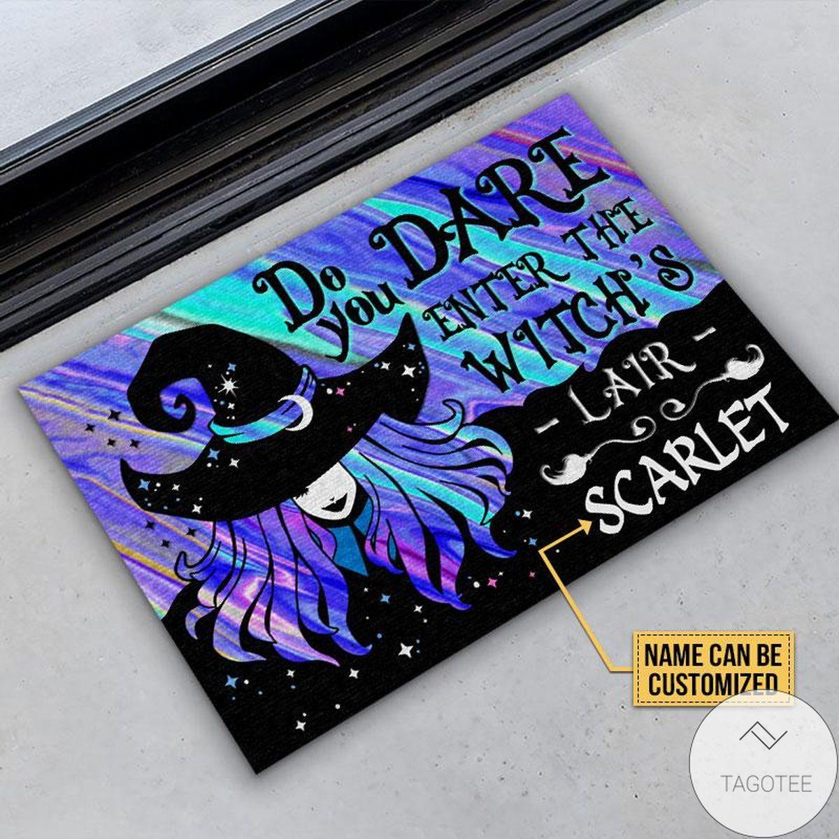 Handmade Personalized Witch Wizard Halloween Spell Do You Dare Custom Doormat
