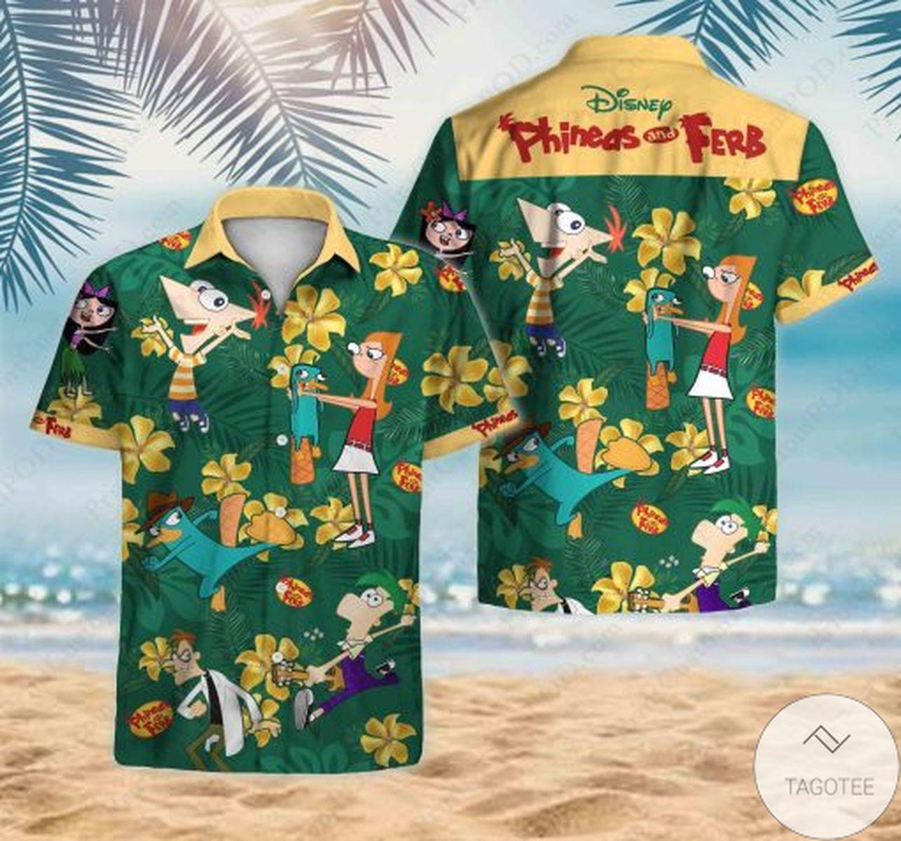 Hot Phineas And Ferb Theme Hawaiian Shirt