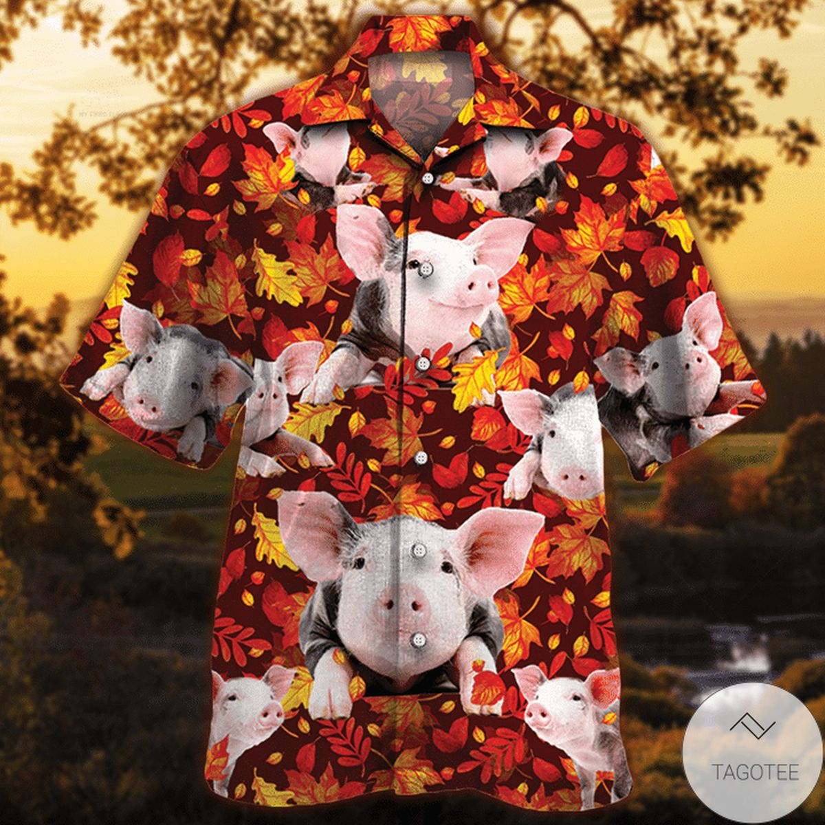 Mother's Day Gift Pig Autumn Red Leaves Hawaiian Shirt
