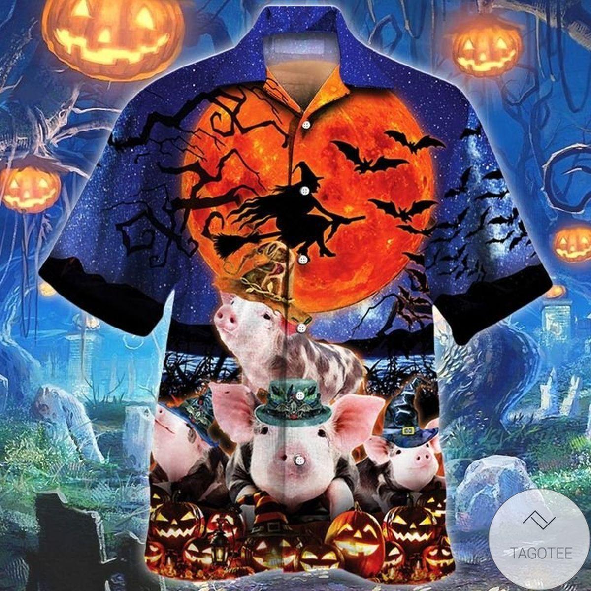 Pig Lovers Halloween Night Hawaiian Shirt