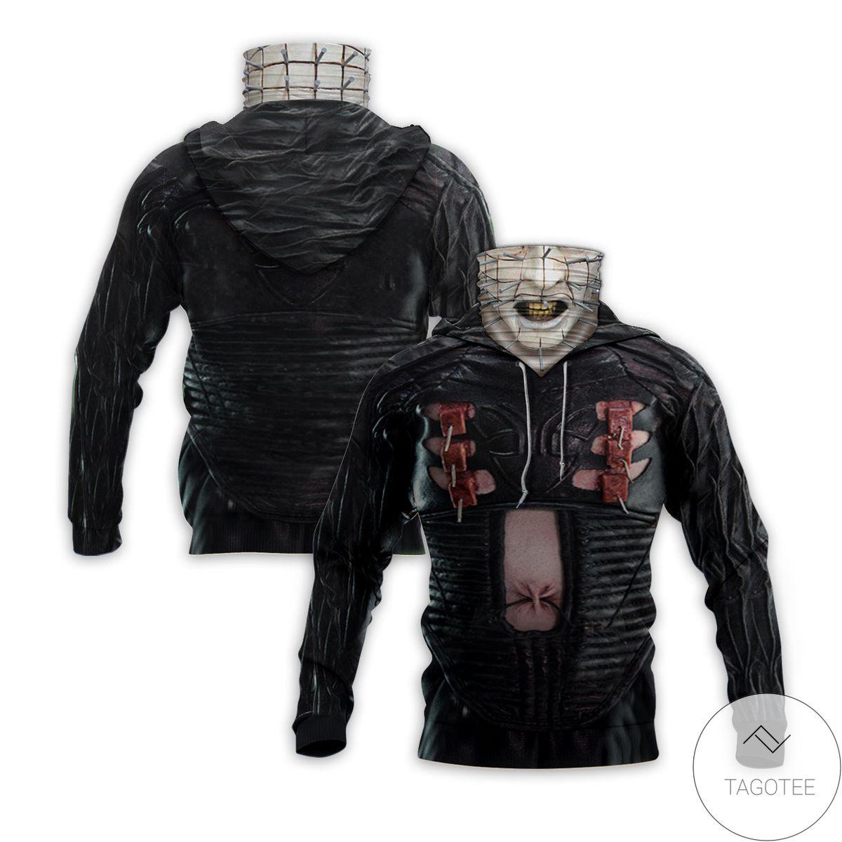 Pinhead The Hell Priest Halloween Mask Hoodie