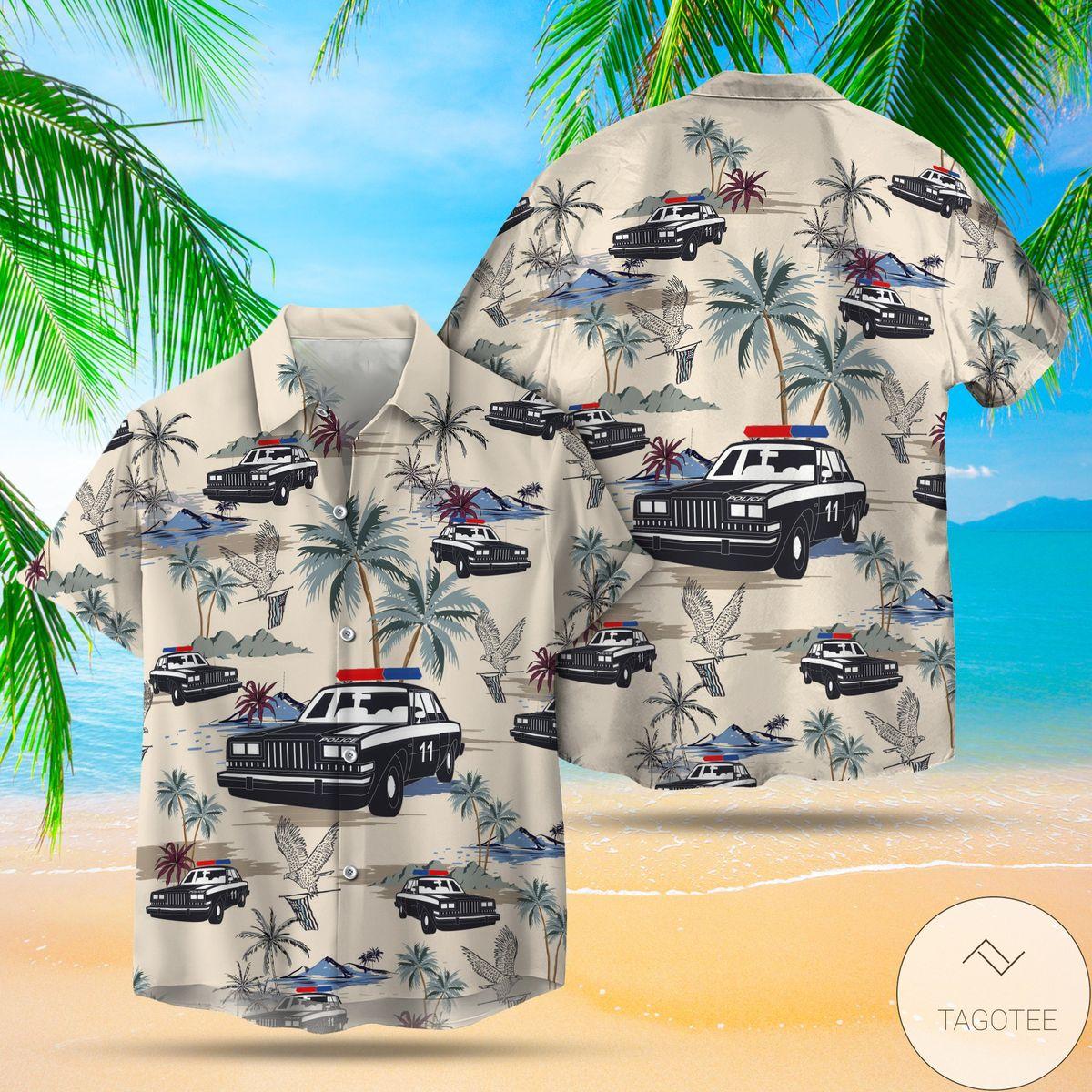 Beautiful Police Cars Seamless Pattern Hawaiian Shirt