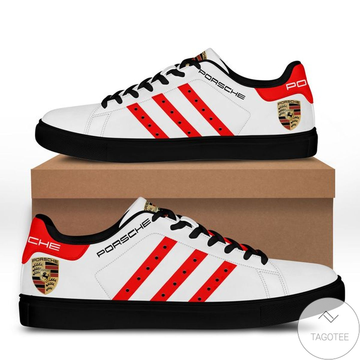Only For Fan Porsche White Red Stan Smith Shoes