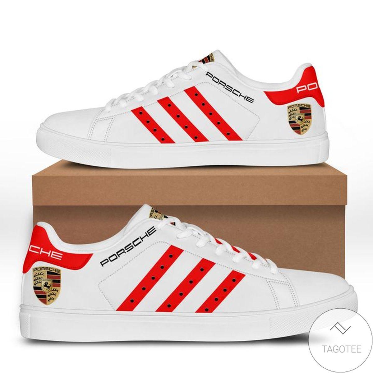 Hot Porsche White Red Stan Smith Shoes