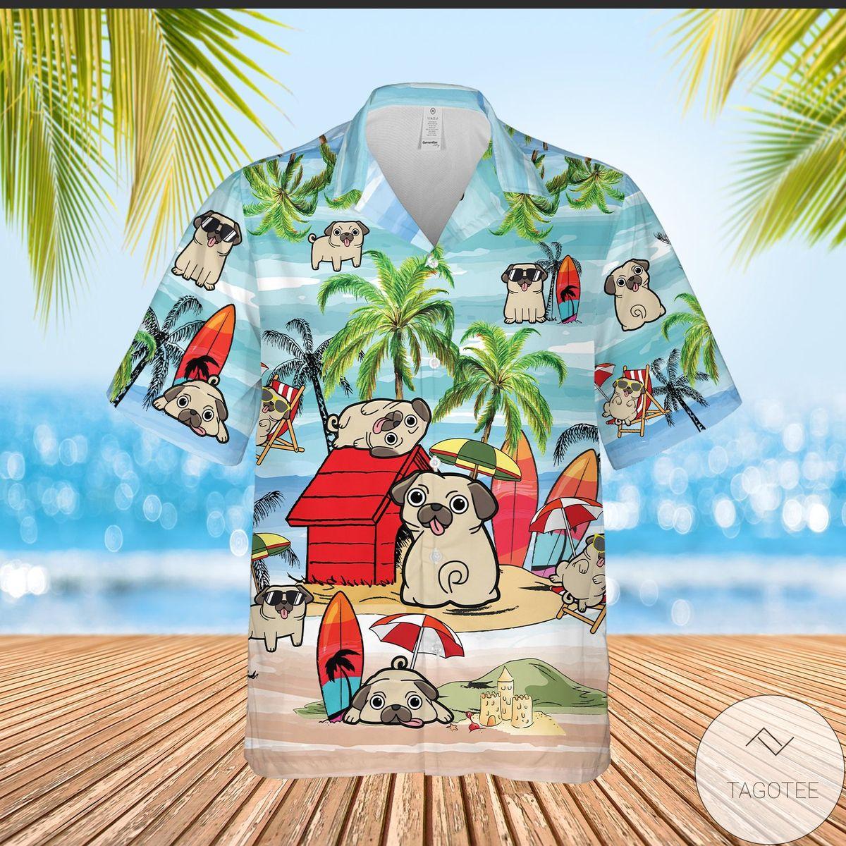 Pug Playing On Beach Summer Vacation Hawaiian Shirt