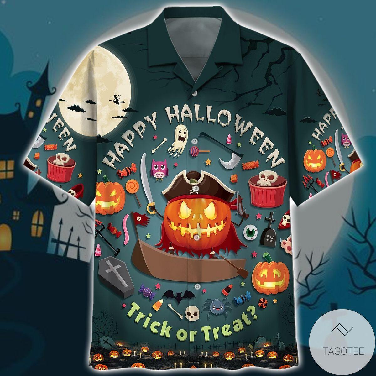 Pumpkin Happy Halloween Trick Or Treat Hawaii Shirt
