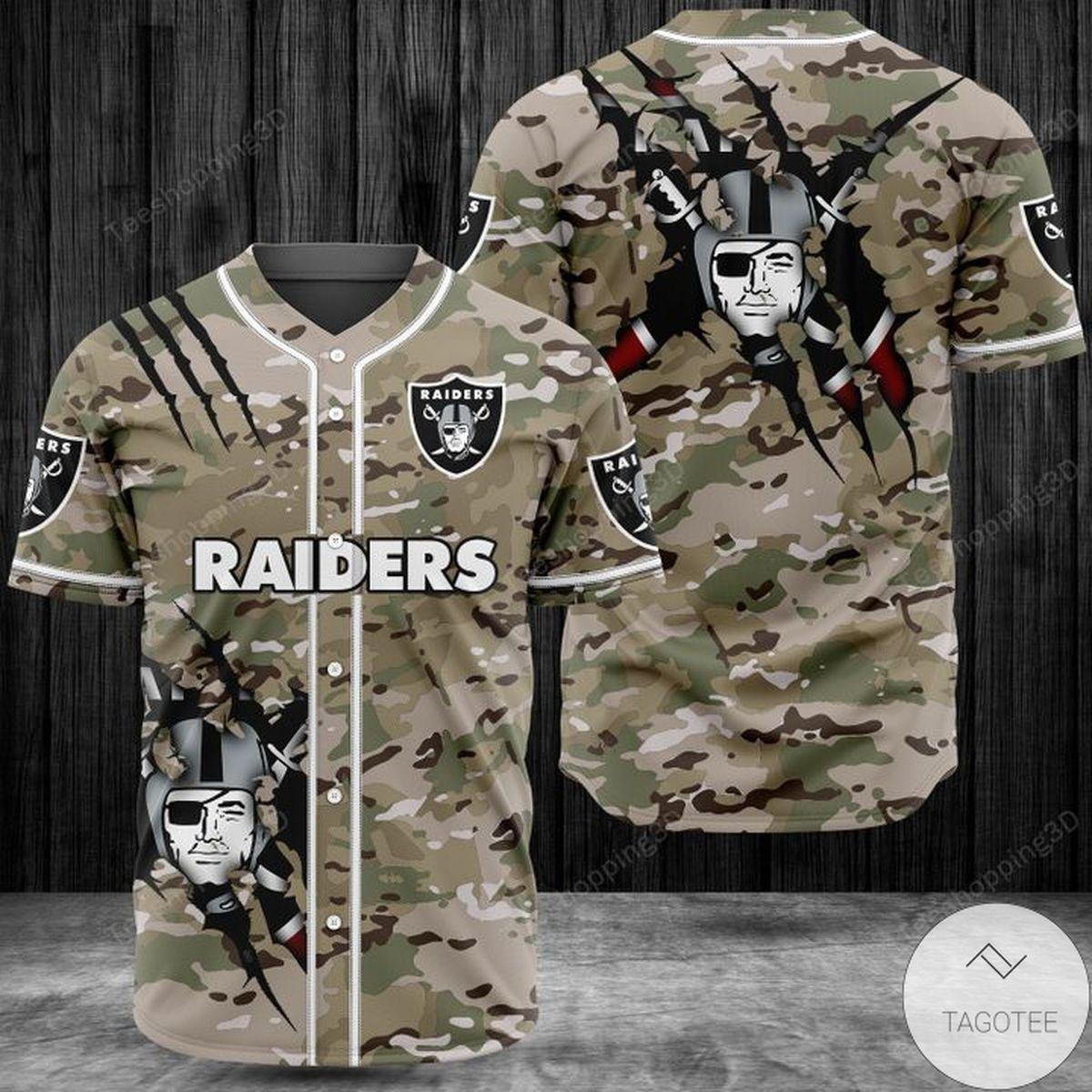 Nice Raiders Camo Baseball Jersey