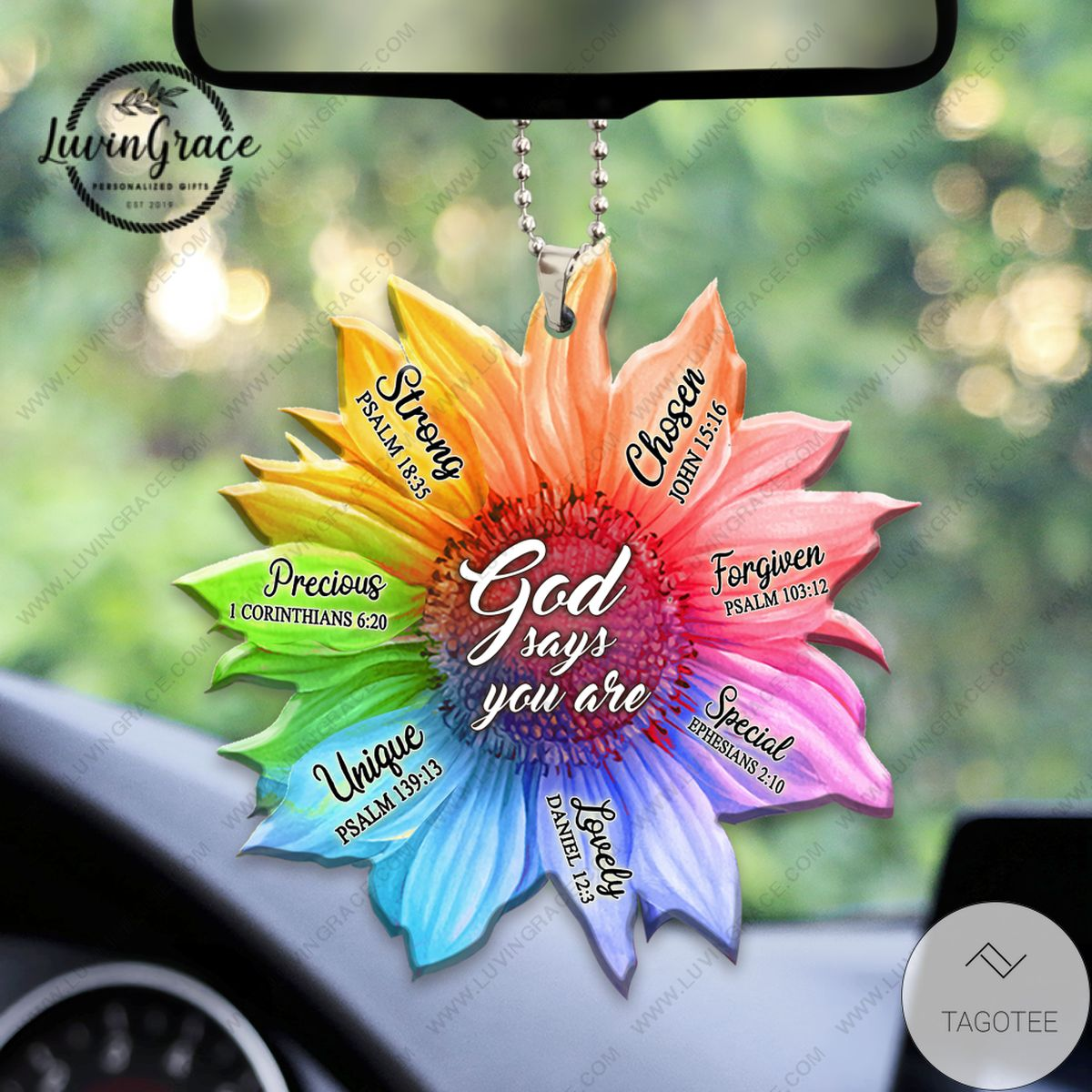 Top Rated Rainbow Sunflower God Says You Are Car Hanging Ornament