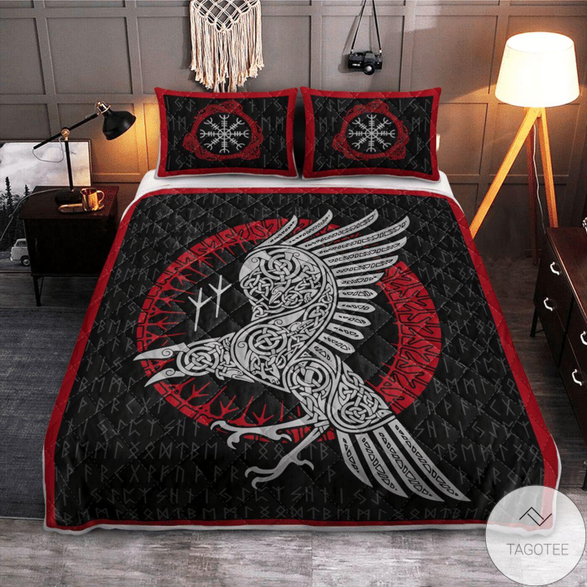 Popular Raven And Rune - Viking Quilt Bedding Set