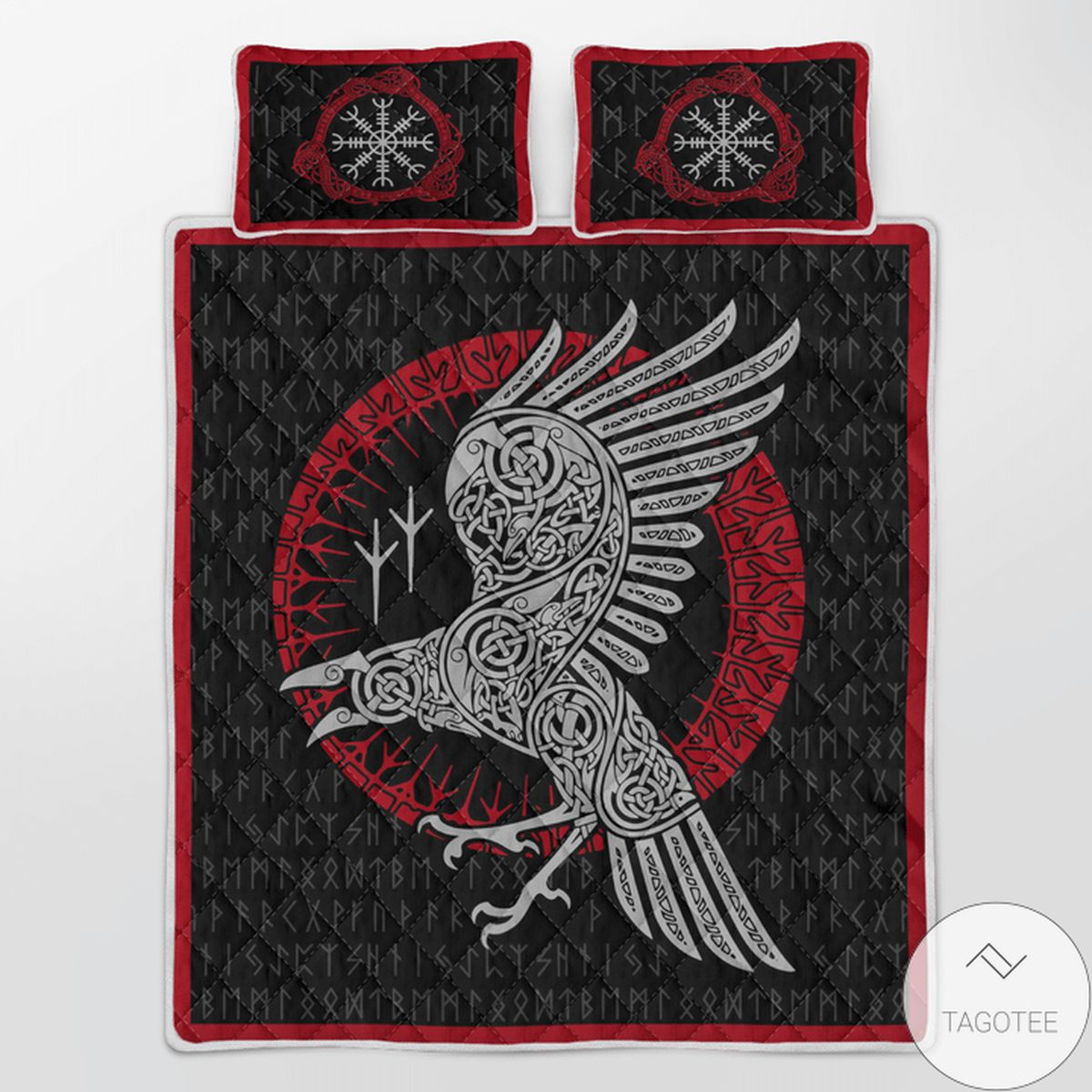 Nice Raven And Rune - Viking Quilt Bedding Set
