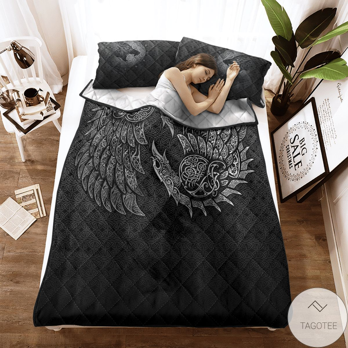 Funny Tee Raven And Wolf Fenrir - Viking Quilt Bedding Set