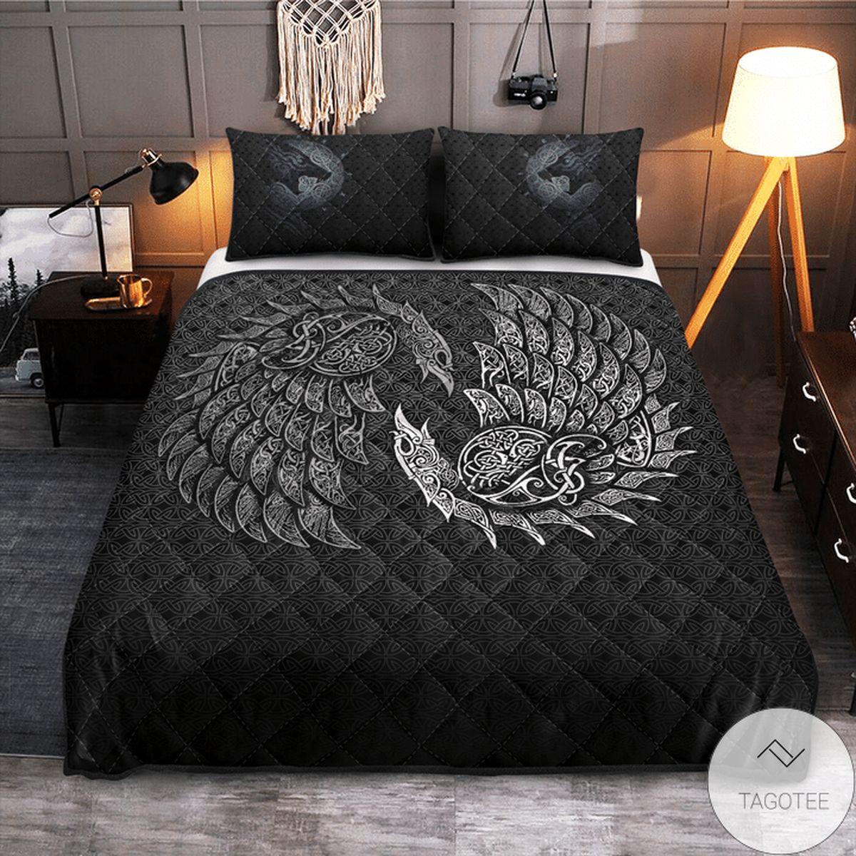 Adult Raven And Wolf Fenrir - Viking Quilt Bedding Set