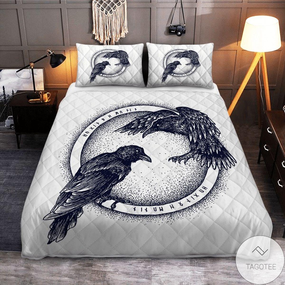 Amazing Raven Of Odin Hugin And Munin Viking Quilt Bedding Set