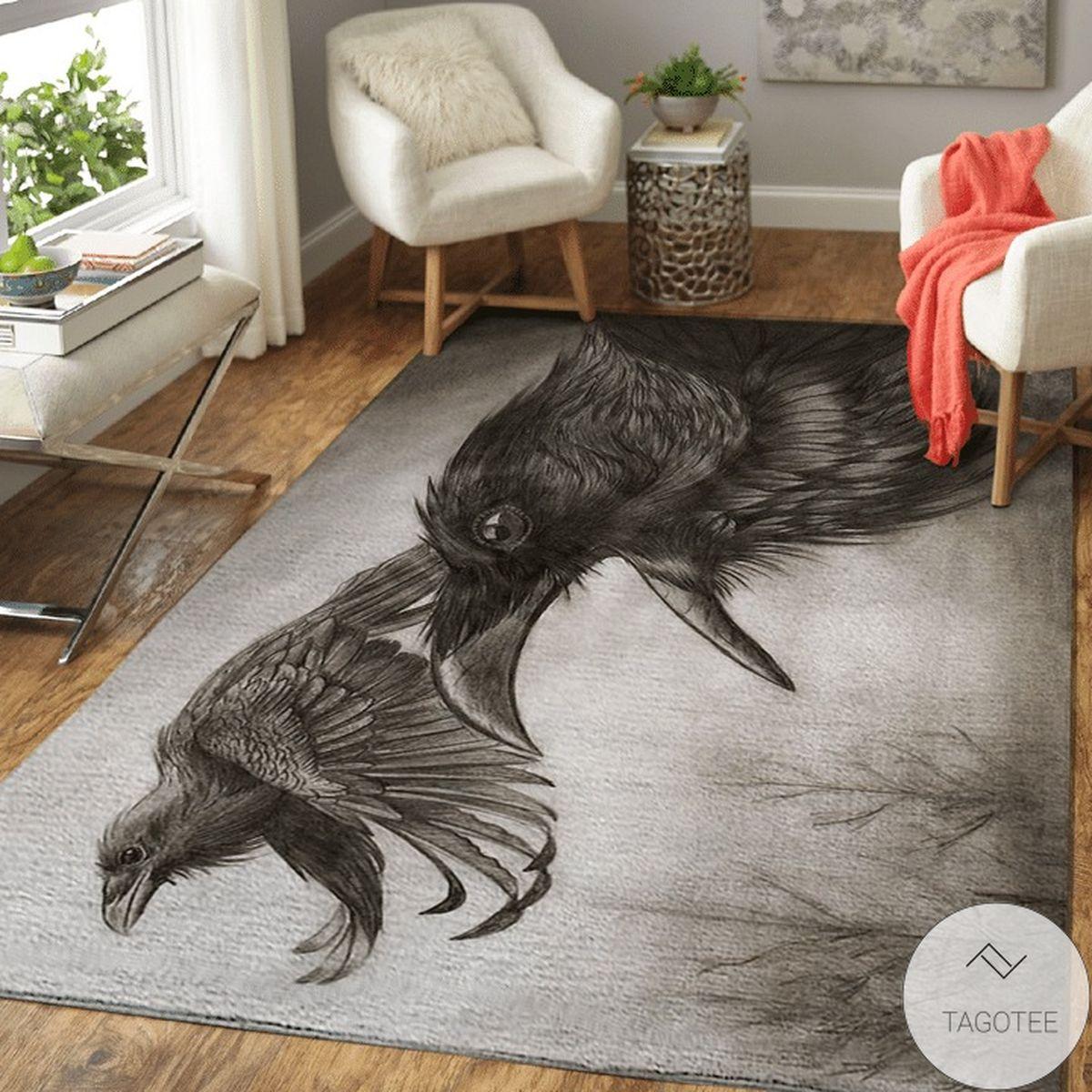 Great Raven Of Odin - Huginn And Muninn Viking Area Rug