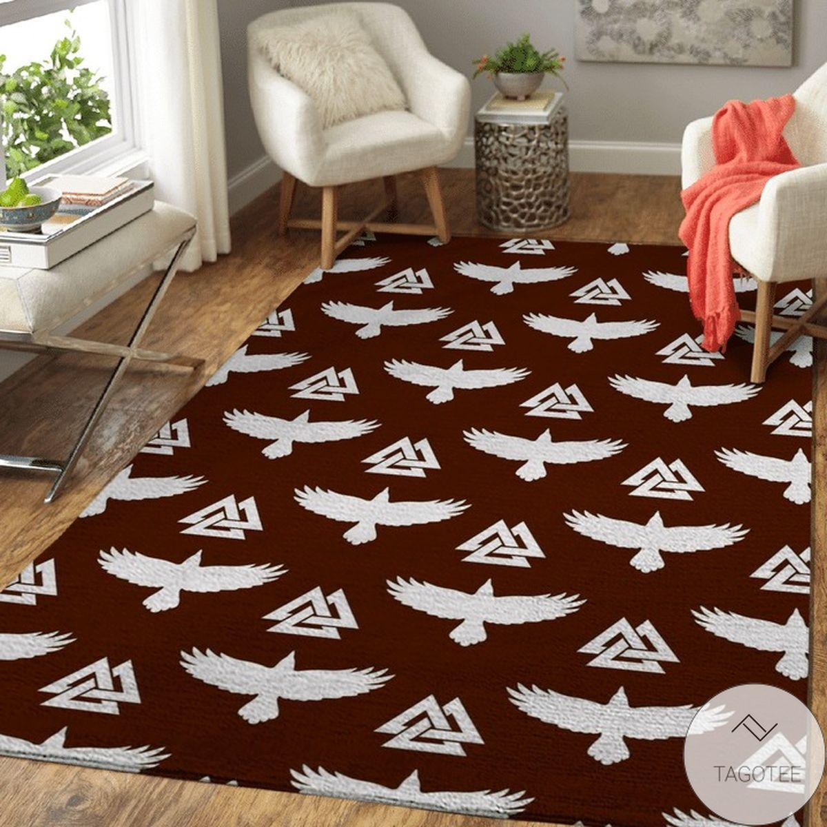 Best Shop Raven Valknut Pattern Viking Area Rug