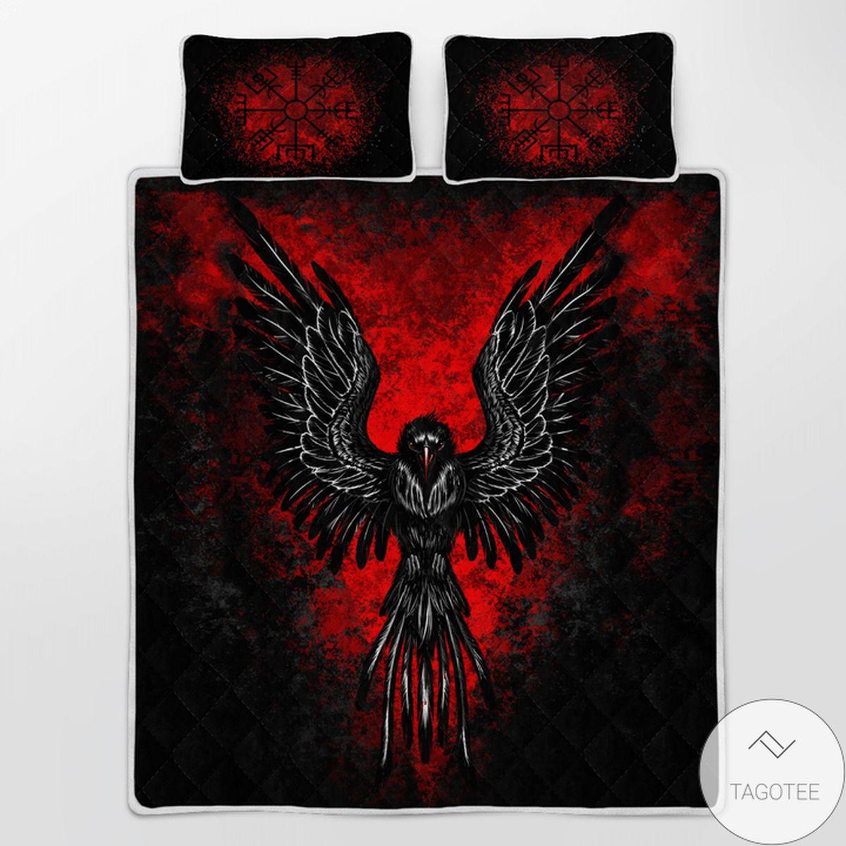 All Over Print Raven Vegvisir - Viking Black Red Quilt Bedding Set