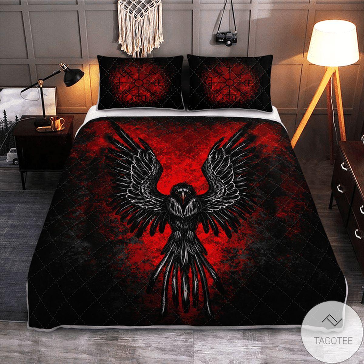Hot Deal Raven Vegvisir - Viking Black Red Quilt Bedding Set