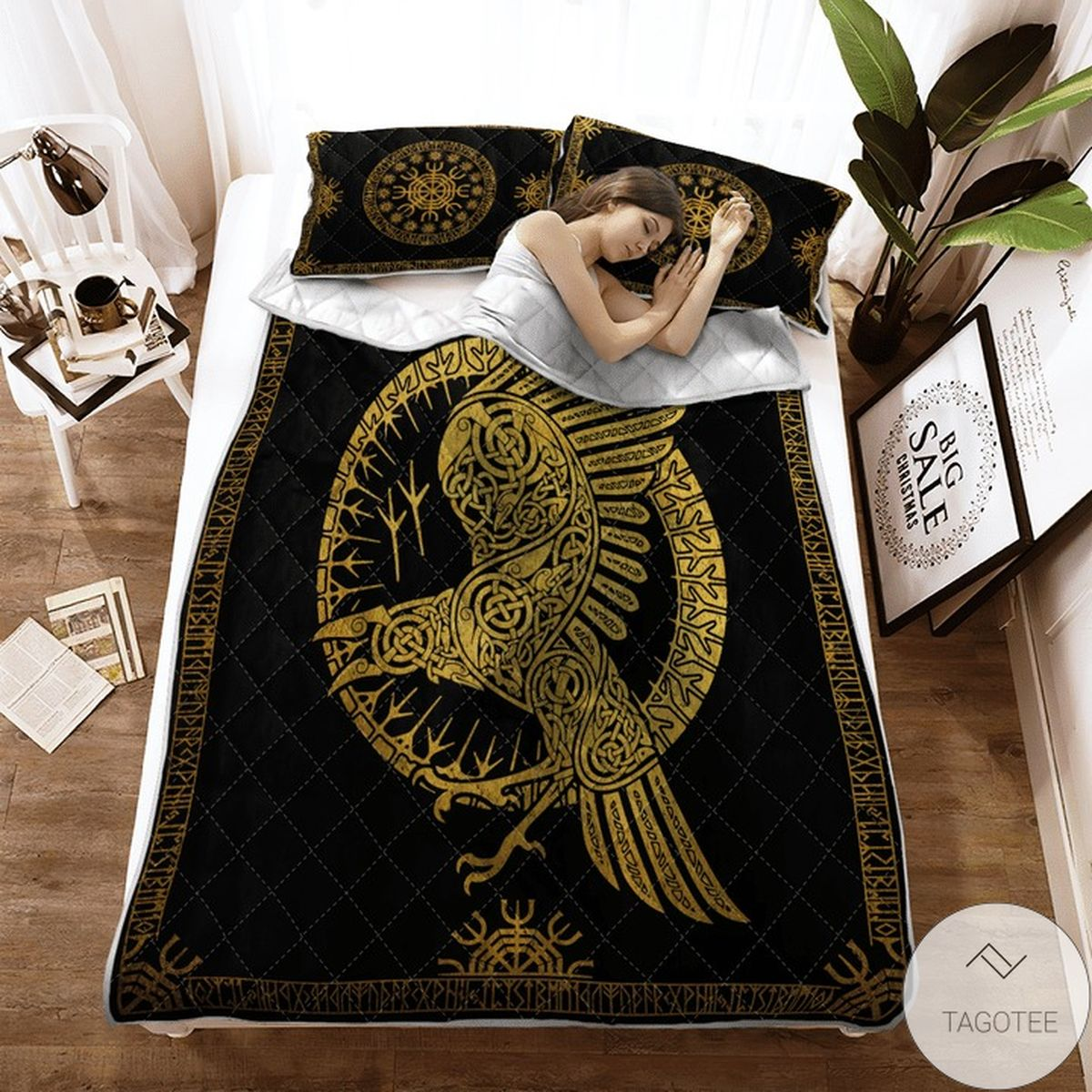 Adult Ravens In Celtic Mythology And Runic Viking Quilt Bedding Set