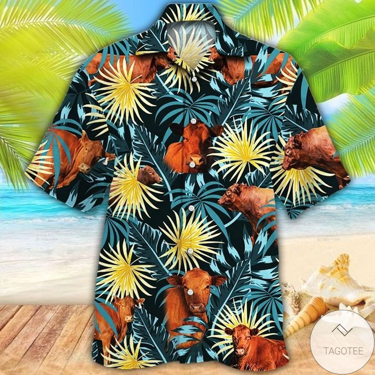 Red Angus Cattle Lovers Blue And Yellow Plants Hawaiian Shirt